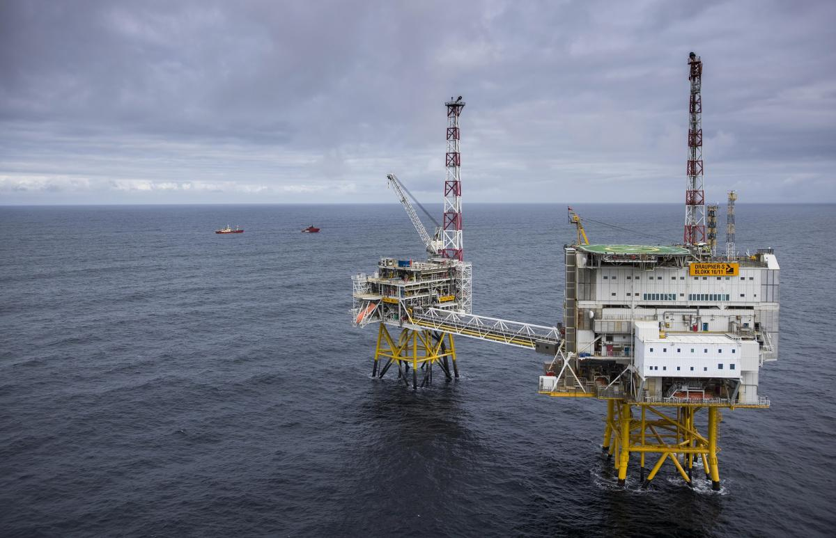 The Draupner platforms in the Norwegian North Sea form a key hub in Norway's gas pipeline network. Photo - Øyvind Hagen / Equinor.