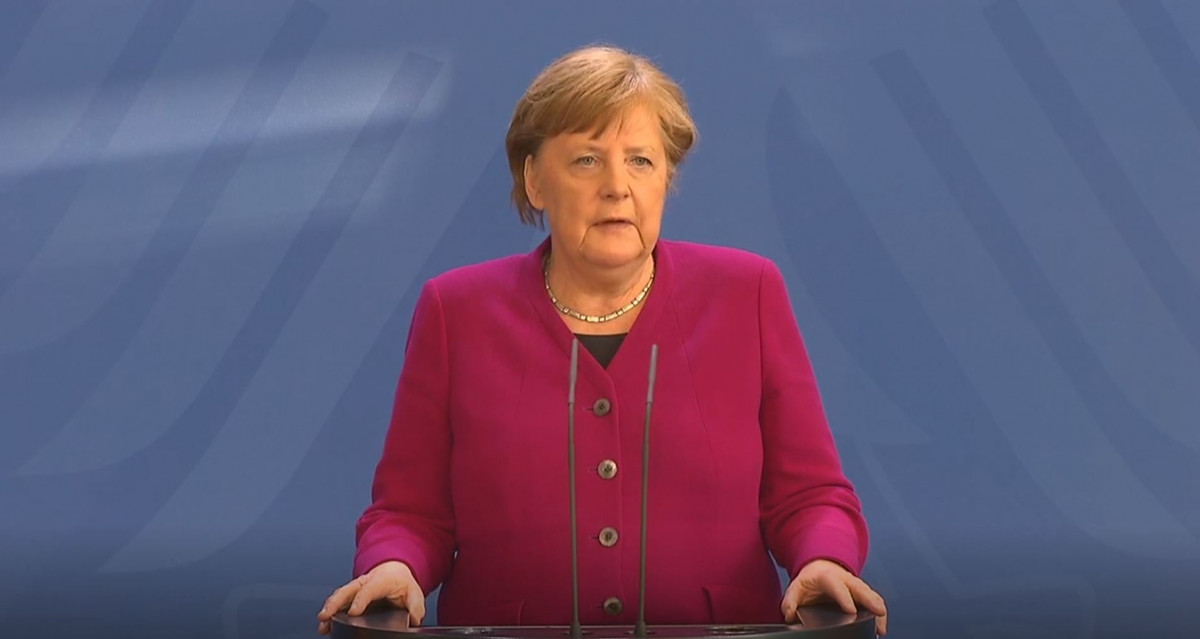 Photo shows German chancellor Angela Merkel after the European Council video conference on 23 April 2020. Source: Bundesregierung.