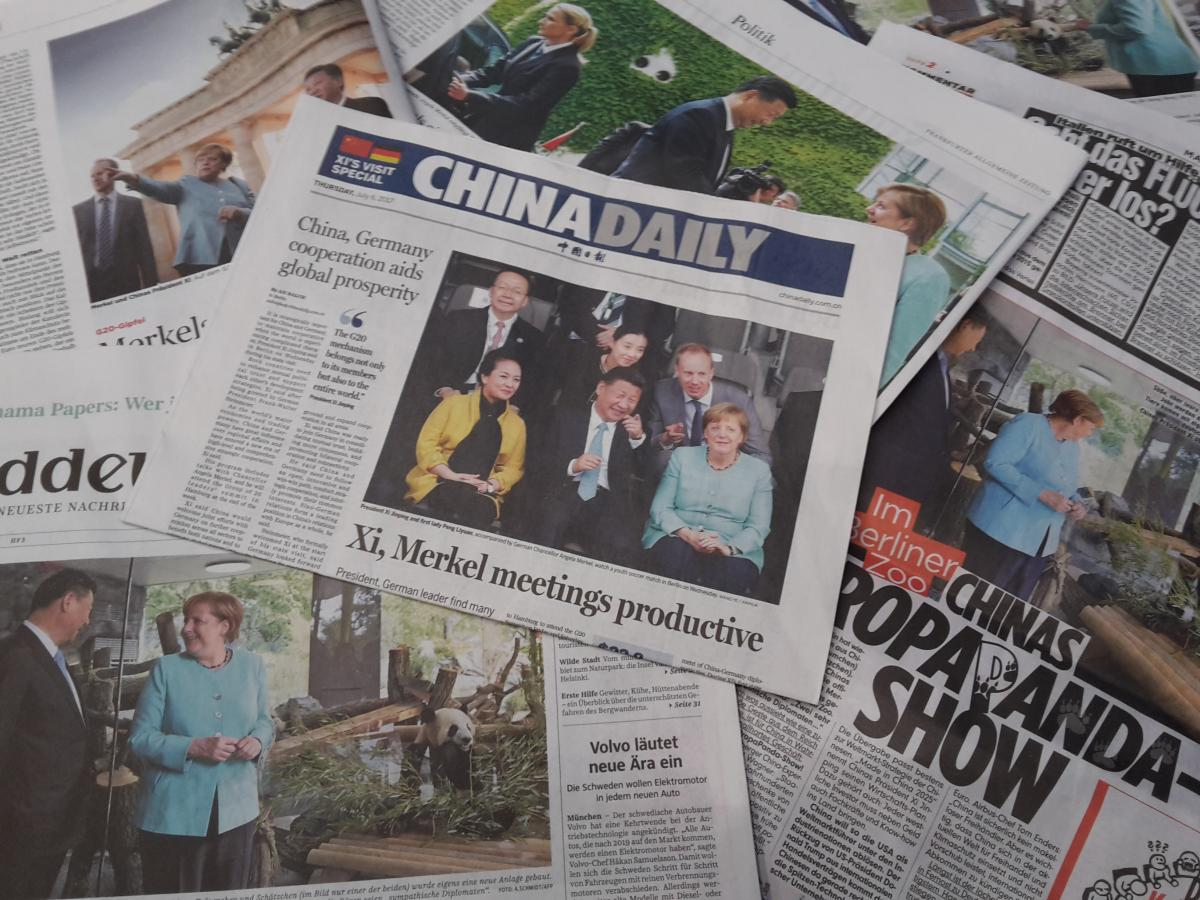 Xi, Merkel and the pandas made it into Chinese and German newspapers. Photo: CLEW