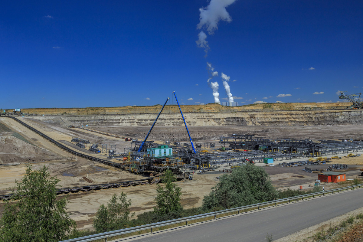 Photo shows Open pit lignite mine Vereinigtes Schleenhain in Saxony, Germany. Photo: MIBRAG / Rainer Weisflog.