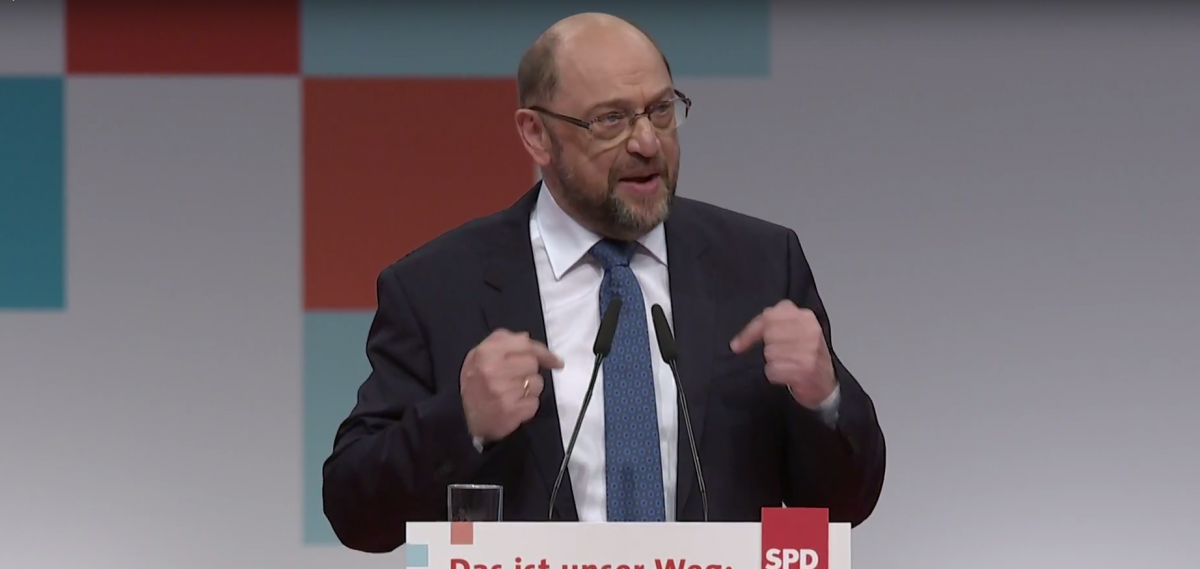 Schulz at the SPD party convention in Berlin. Photo: SPD