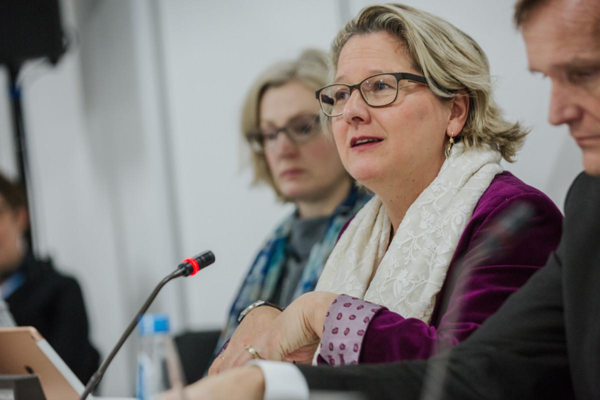 Photo shows German environment minister Svenja Schulze. Photo: BMU/Sascha Hilgers.