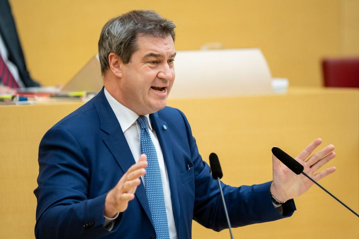 Bavarian state premier Söder during his address to regional parliament in Munich. Photo Bavarian government
