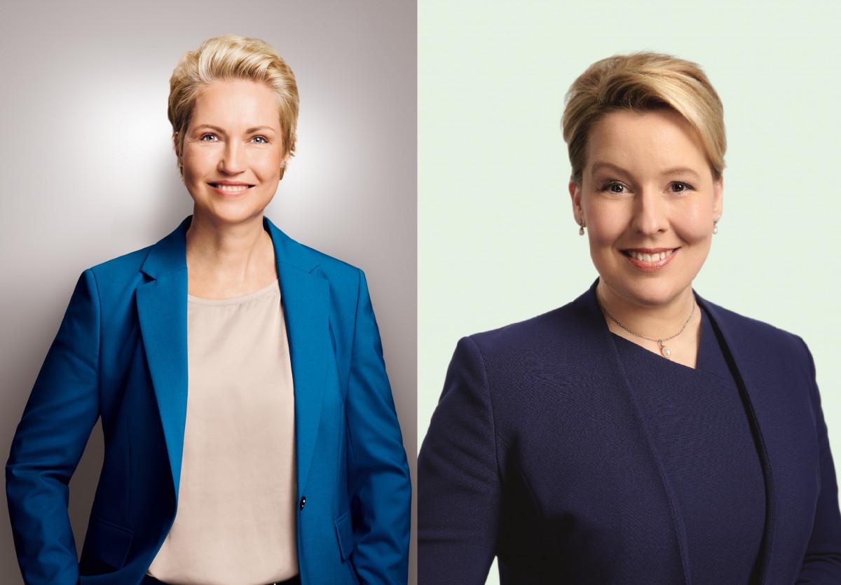 SPD state election winners Manuela Schwesig and Franziska Giffey. Source: SPD/Maximilian König & Jonas Holthaus.