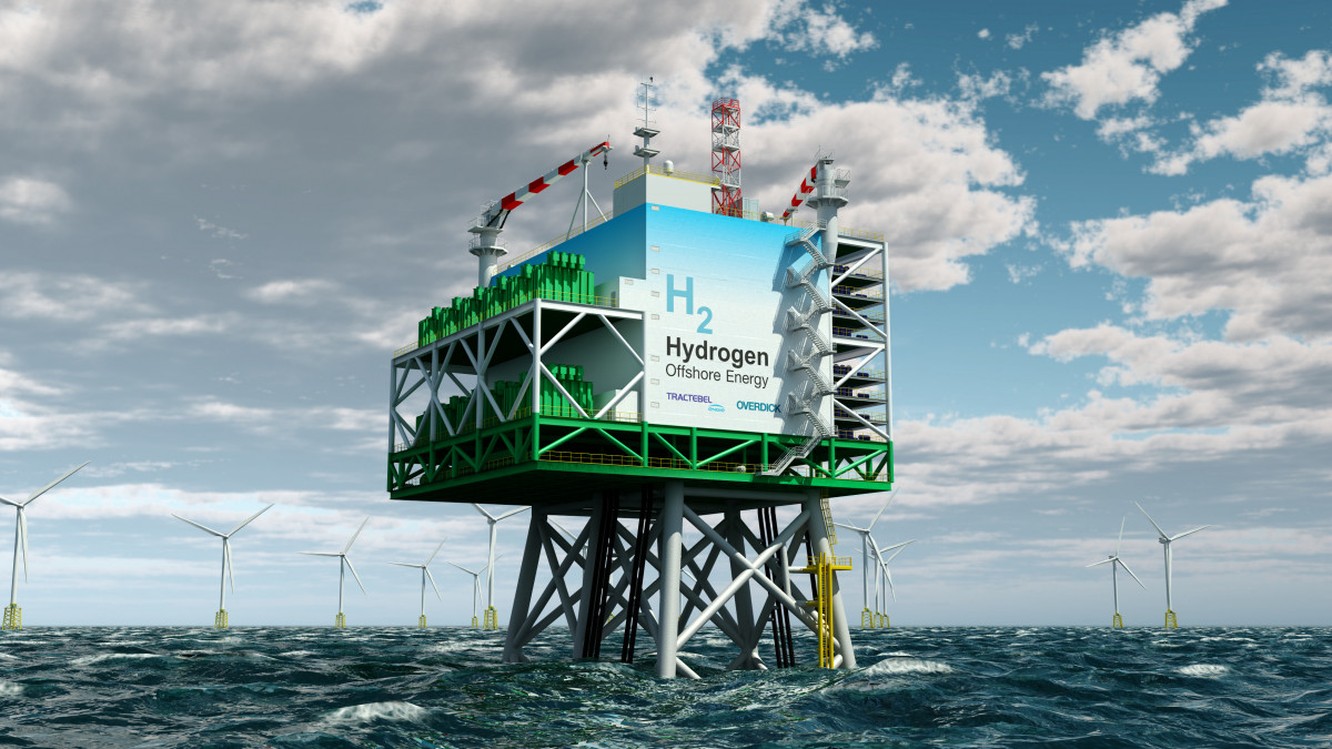 "Photo shows offshore platform which makes it possible to produce ""green"" hydrogen from offshore wind energy at an industrial scale using electrolysis. Photo: Tractebel 2019."