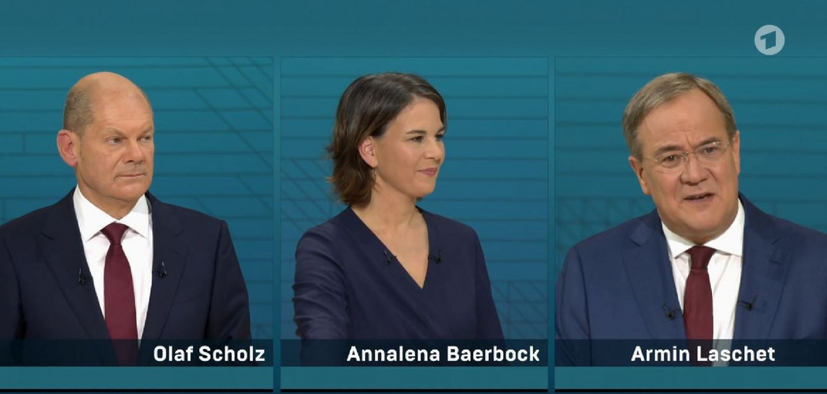 The three candidates during a TV debate. Screenshot by CLEW