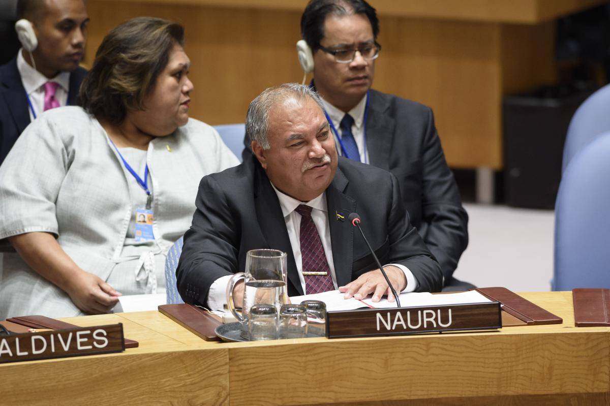 Photo shows: Baron Divavesi Waqa, President of Nauru, addresses the UN Security Council during a debate on climate-related security risks in July 2018. Photo: UN Photo/Loey Felipe 2018.