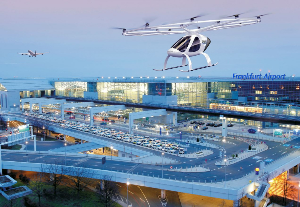Airport operator Fraport AG and start-up Volocopter explore the use of autonomous flying taxis at Germany's Frankfurt Airport. Photo: Volocopter