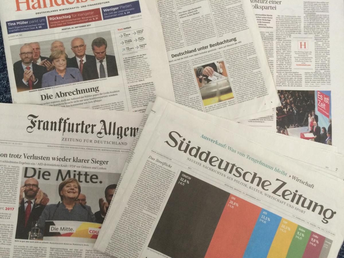 German newspaper covers on the day after the 2017 elections. Source: CLEW