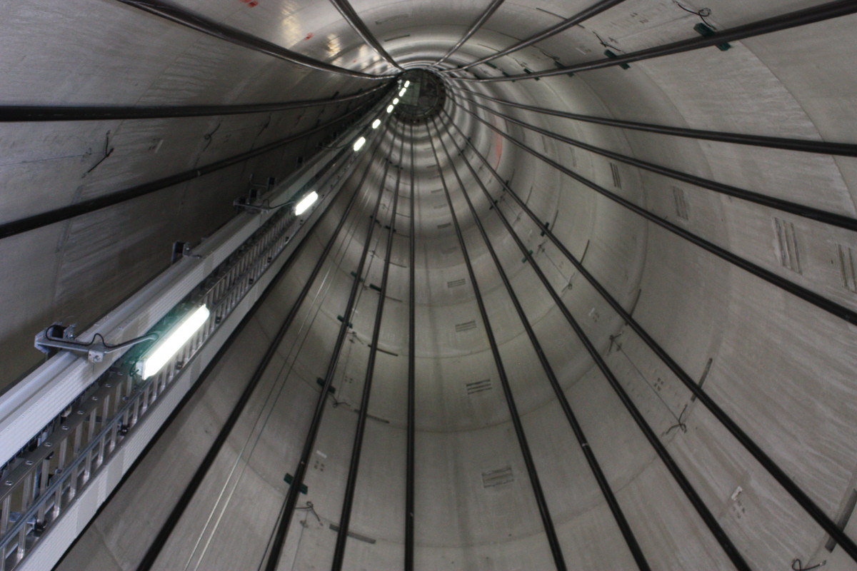 photo shows inside of wind turbine in Germany. Photo: CLEW/Wehrmann.