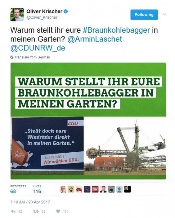 Twitter message by Green politician Oliver Krischer in response to a CDU campaign poster. Source - Twitter.