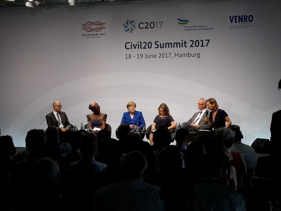 German Chancellor Angela Merkel discussing the G20 at the Civil20 Summit 2017. Source - CLEW 2017.