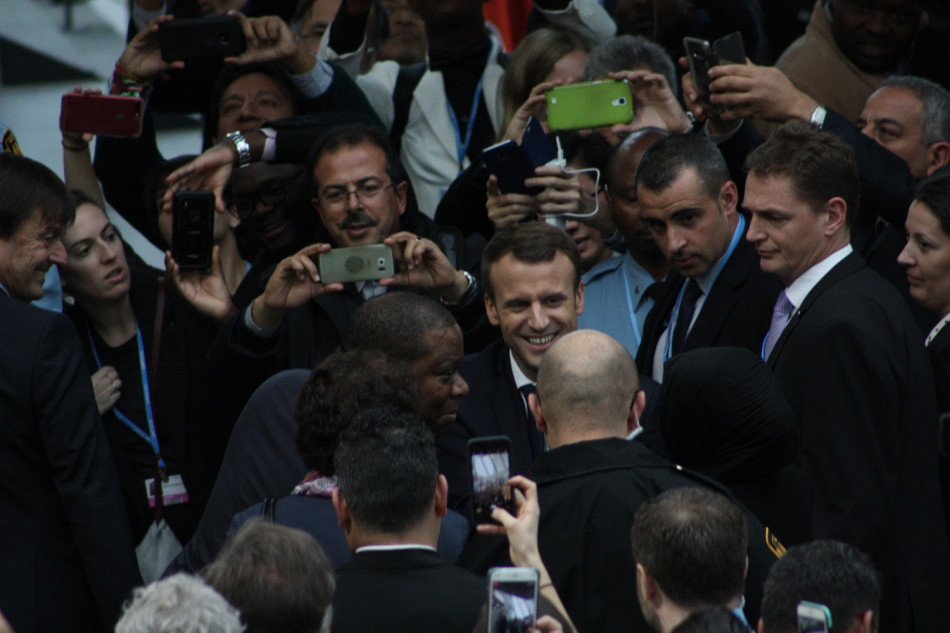 French President Emmanuel Macron greeted by a crowd ahead of his speech at the UN climate conference in Bonn. Source - CLEW 2017.