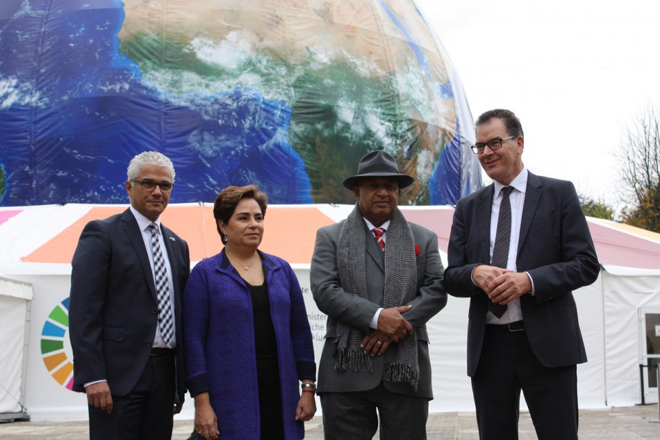 Bonn's mayor Ashok Sridharan, UNFCCC executive secretary Patricia Espinosa, Fiji's president Frank Bainimarama and German development cooperation minister Gerd Müller. Source - CLEW 2017.