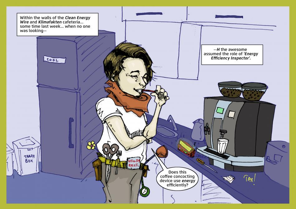 Illustration of an energy efficiency inspector testing a coffee machine in a cafeteria. Mwelwa Musonko.