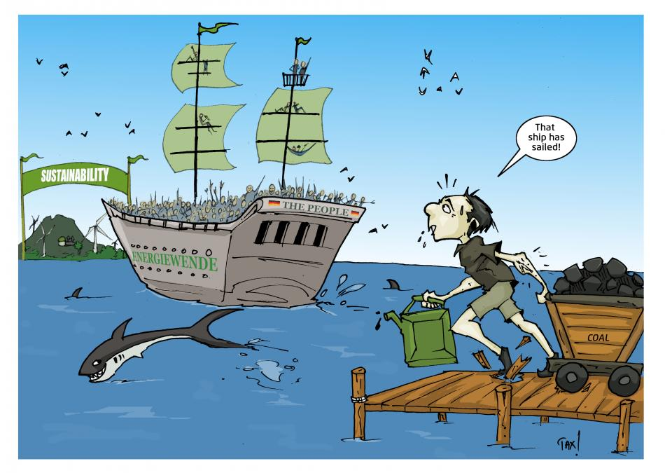 Cartoon showing a ship sailing to sustainability island, guy with coal and oil as luggage arrives at pier too late. Illustration - Mwelwa Musonko.
