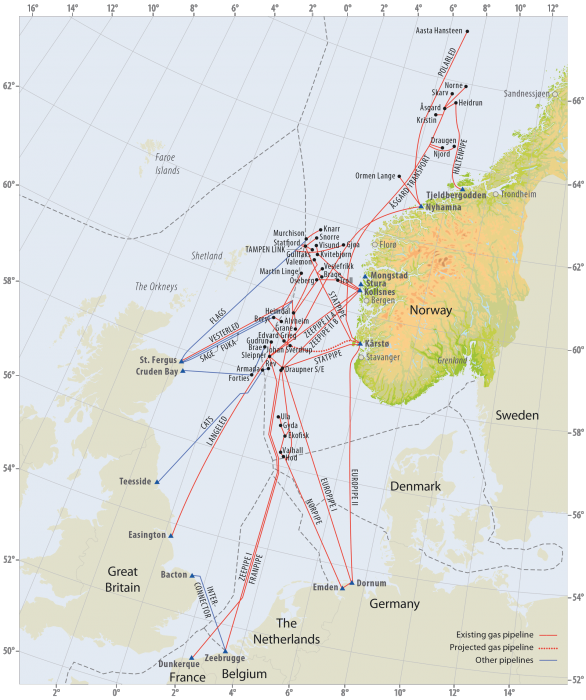 Gas pipelines on the Norwegian continental shelf. Source - Norwegian Petroleum Directorate.