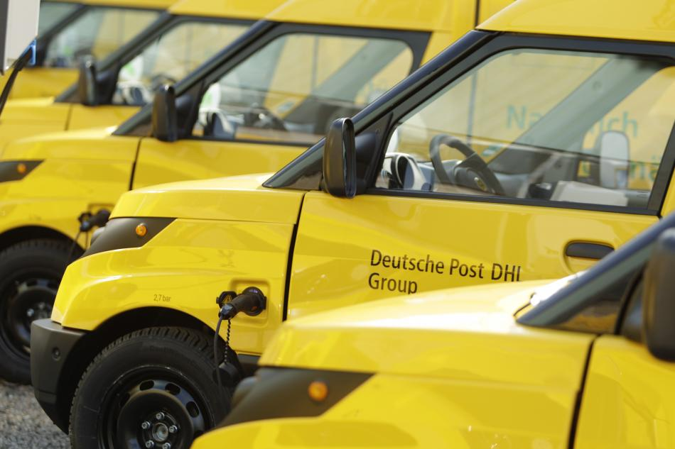 Electric vehicles are becoming popular for urban deliveries – famously, the German postal service's Streetscooter. Source - Deutsche Post DHL Group.