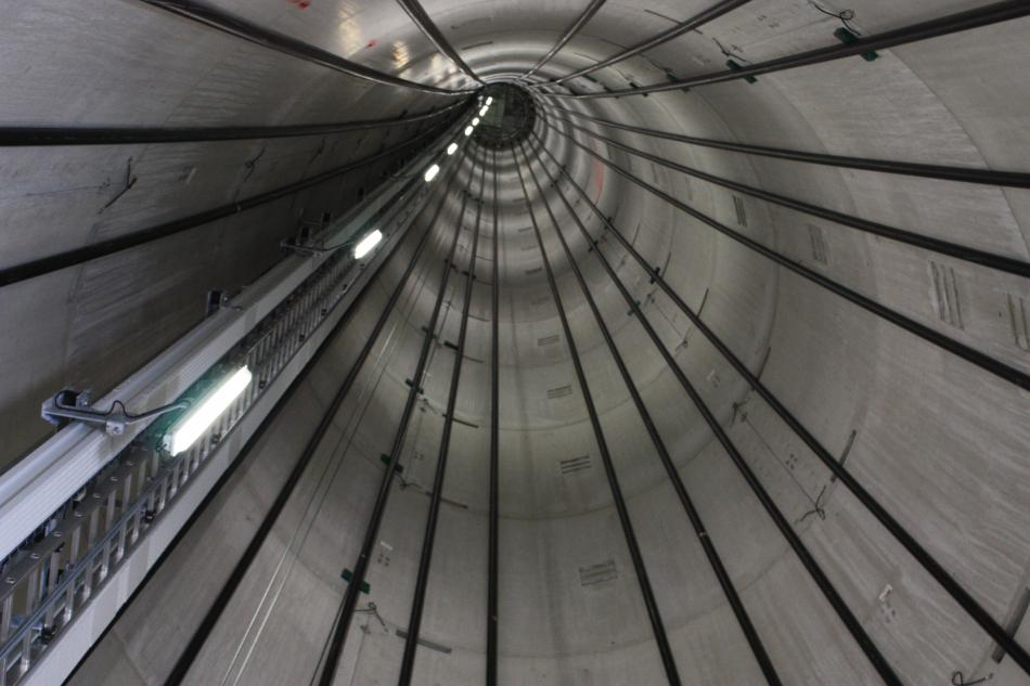 Inside of a turbine tower - power conductor seen on the left. Photo: CLEW
