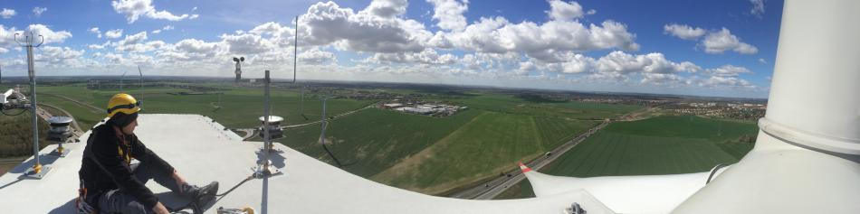 Berlin on the horizon seen from a 150 metre wind turbine. Photo:CLEW