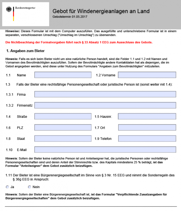 The Federal Grid Agency's application form for onshore wind power tenders