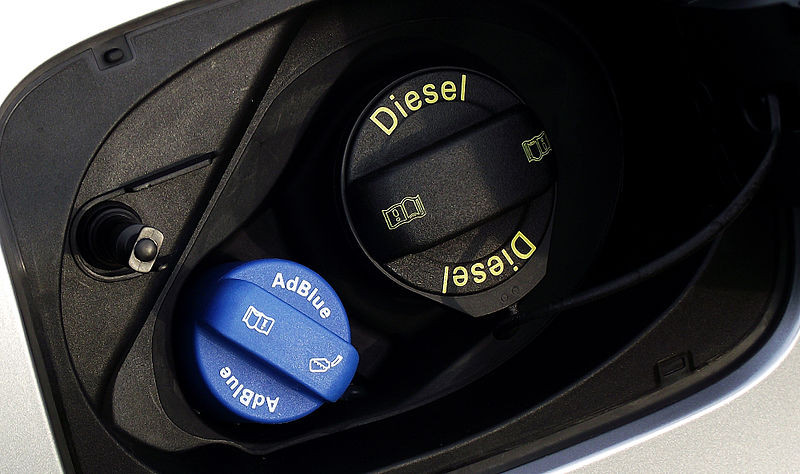 Tank opening of a diesel car with German diesel exhaust fluid AdBlue. Source: autoaid.de