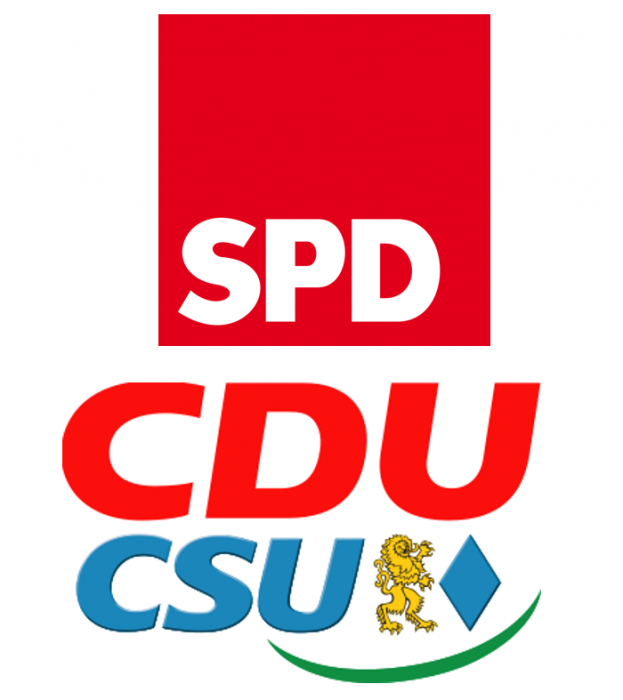 The conservative CDU/CSU alliance and the SPD have governed Germany since 2013. Source:CLEW