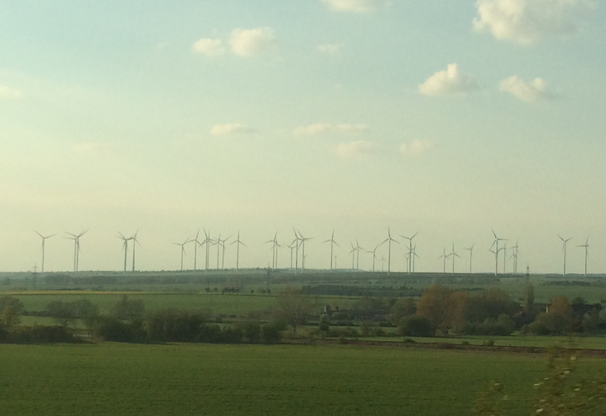 Wind turbines dominating the landscape in eastern Germany. Photo: CLEW