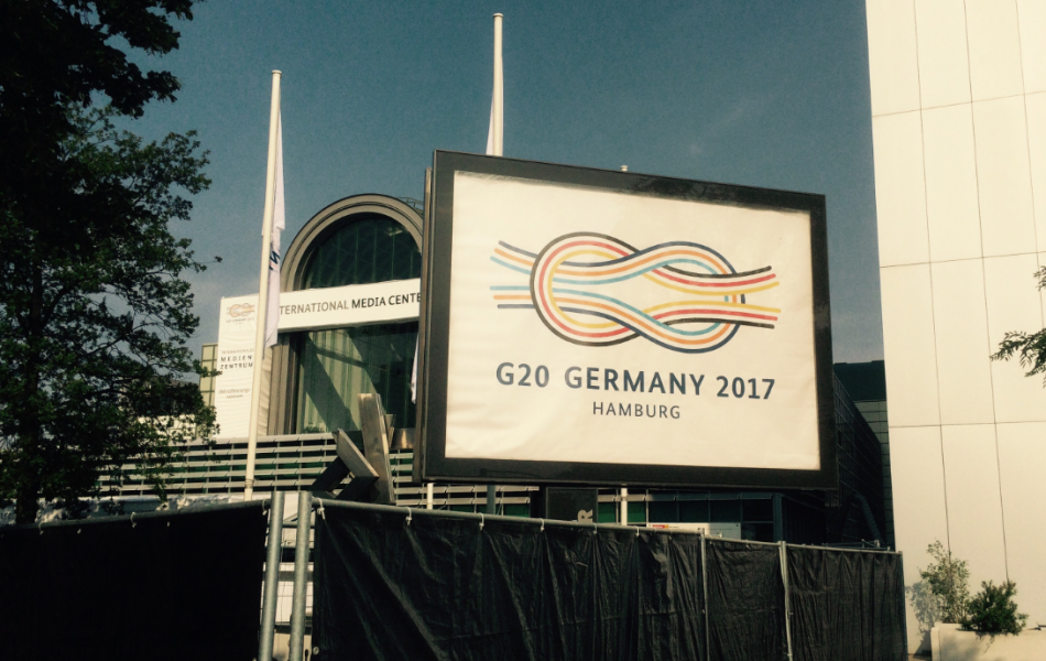 G20 press centre in Hamburg. Photo: CLEW