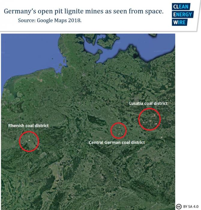 Map of Germany's lignite mining districts as seen from space. Source: Google Maps 2018.