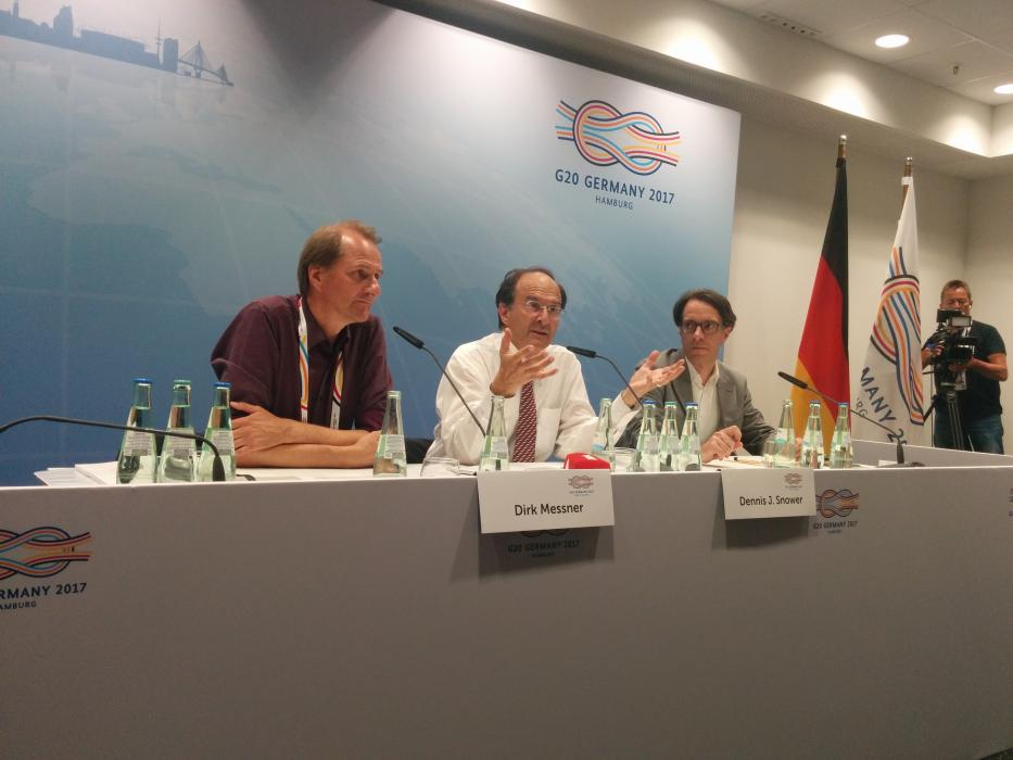 Dirk Messner, Director of the German Development Institute (DIE) and Dennis Snower, president of the Kiel Institute for the World Economy at the G20 Media Centre. Source - CLEW 2017.