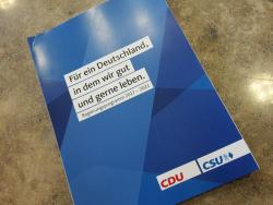 Joint election programme by the conservative alliance of German Chancellor Angela Merkel's CDU and its Bavarian sister party CSU. Photo source - CLEW 2017.