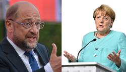 SPD candidate Martin Schulz and German Chancellor Angela Merkel. Source - Pixabay 2017.