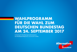 Cover of the preliminary campaign programme for the federal elections 2017 by Alternative for Germany (AfD). Source - AfD 2017.