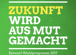 Cover of the preliminary campaign programme for the federal elections 2017 by Green Party. Source - Green Party 2017.