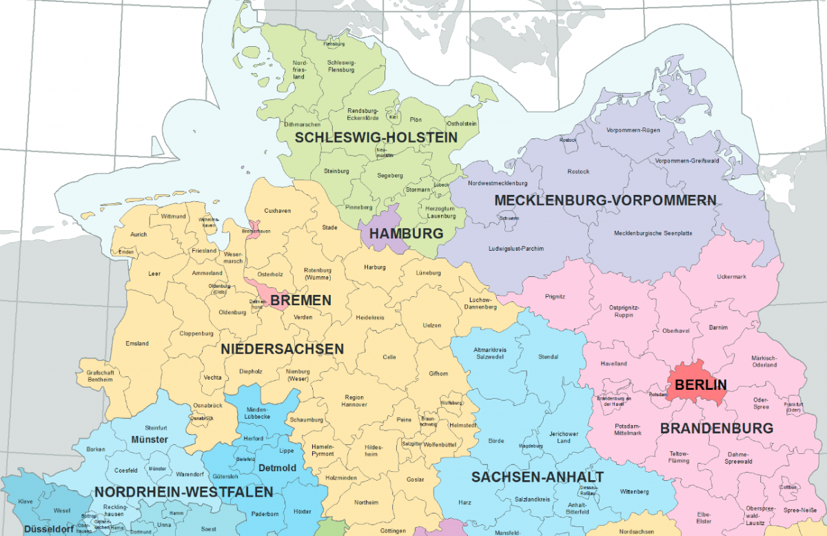 Map of northern Germany shows federal states. Map: Bundesamt für Kartographie und Geodäsie, Frankfurt am Main.