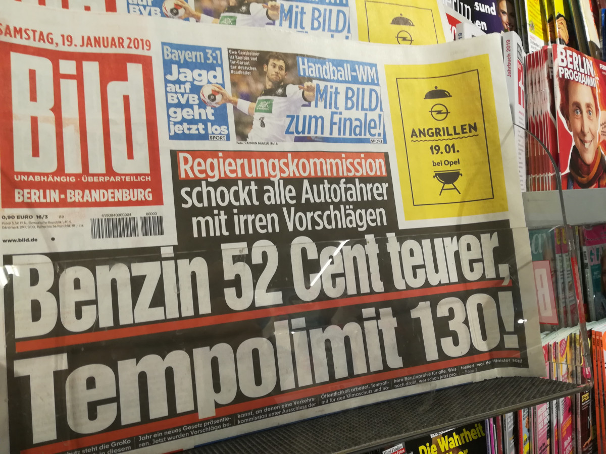 "Photo of a headline in daily tabloid Bild reading ""Government commission shocks all drivers with mad proposals"". Photo: CLEW/Wettengel 2019."