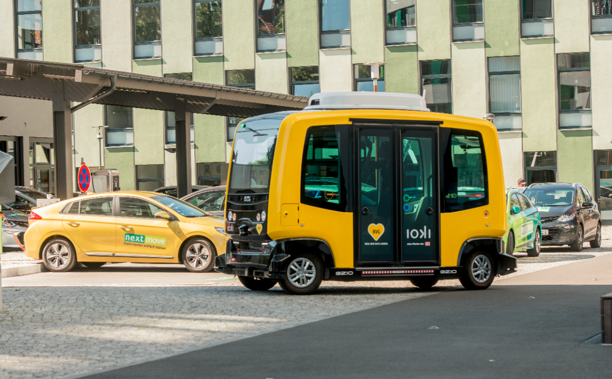 Photo shows autonomous vehicle tested by Berlin's public transport company BVG. Photo: EUREF AG / Christian Kruppa