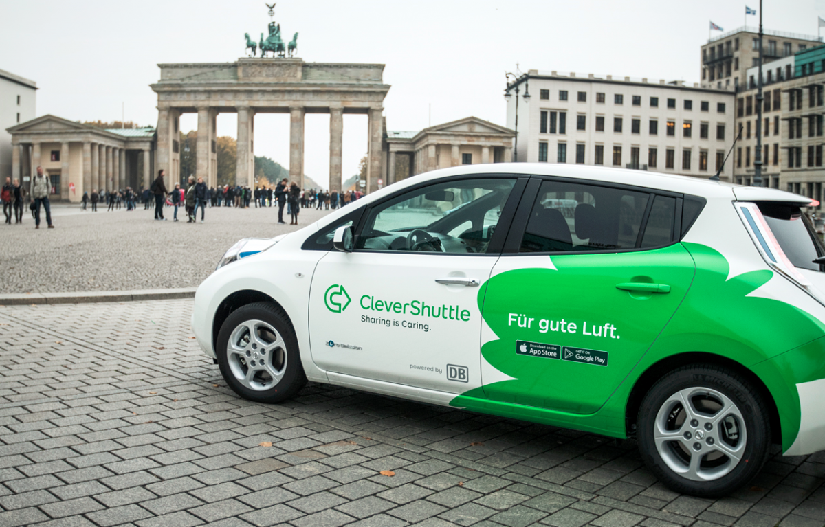Photo shows vehicle used by shared, electric-car shuttle service CleverShuttle. Photo: Clevershuttle.