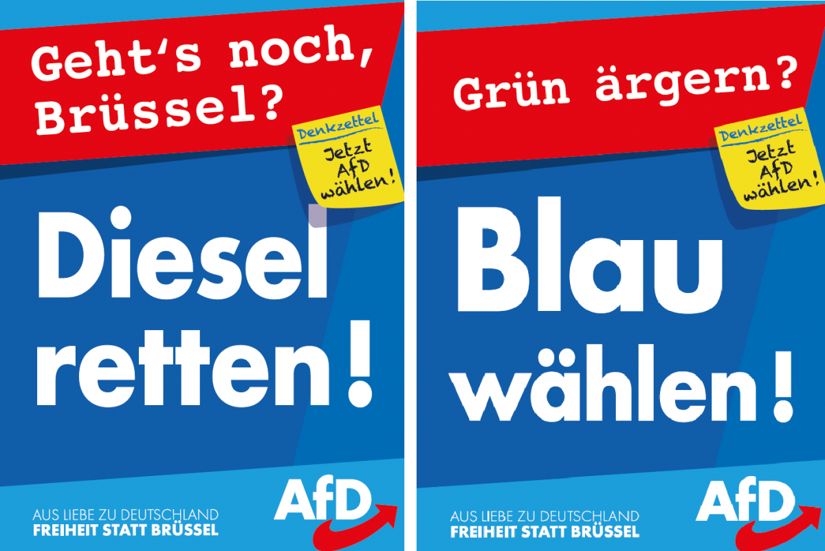 Image shows election campaign posters by Alternative für Deutschland (AfD) for EU elections 2019. Source: AfD.