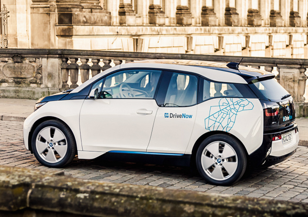 A BMW i3 of the company's car sharing service DriveNow, which has now been merged with Daimler's. Photo DriveNow