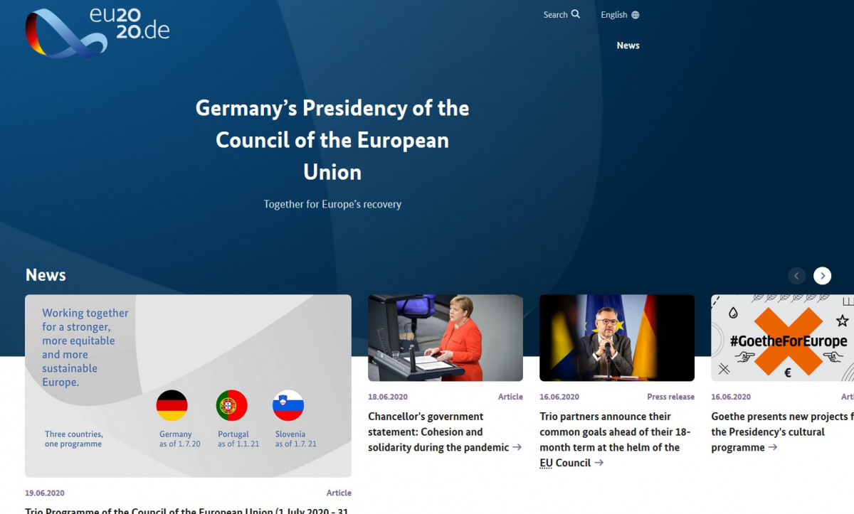 Screenshot of Germany's website for the EU Council presidency in H2 2020.