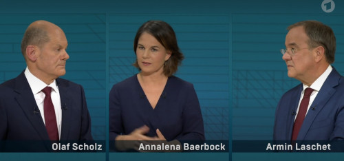 The candidates of the SPD, the Green Party and the CDU/CSU in a TV debate: Each party has led the polls at some point in 2021. Photo: ARD (screenshot)