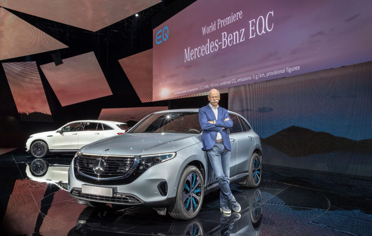 Daimler CEO Zetsche presents the EQC in Stockholm in September 2018. Photo Daimler