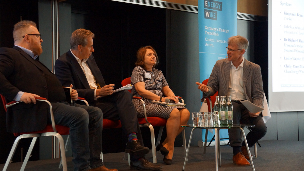 Photo shows participants in a panel at the Clean Energy Wire Global Energy Transition Journalism Conference 2019. Photo: CLEW 2019.