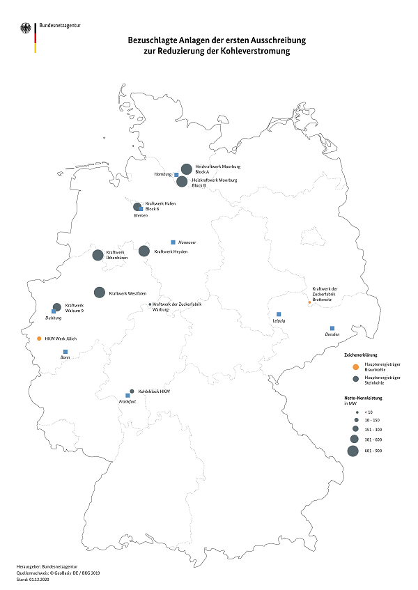 Hard coal plants that successfully participated in the first decommissioning auction are primarily located in Northern Germany. Source: BNetzA