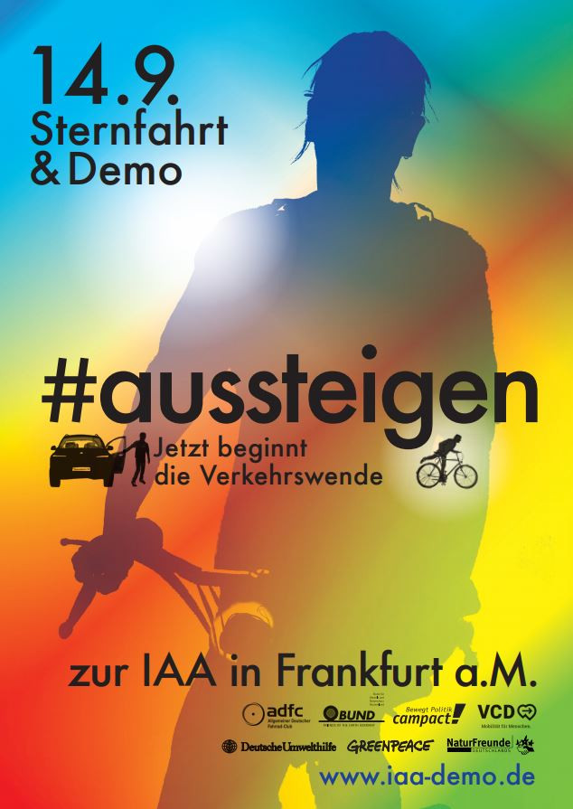 "Poster advertising IAA clean mobility protests - ""get off - the mobility transition starts now"""