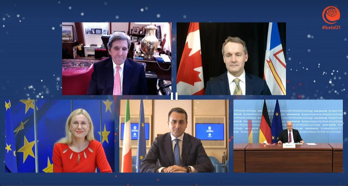 Photo shows John Kerry, Peter Altmaier, Kadri Simson at Berlin Energy Transition Dialogue 2021. Source: BETD.
