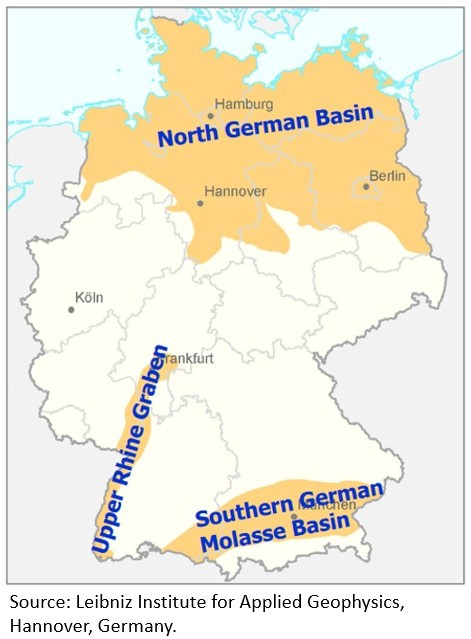 Germany's three regions with deep geothermic waters