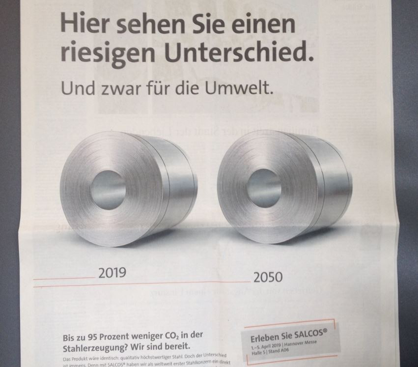 "The same, but different....Salzgitter took out adverts to illustrate the SALCOS problem that the product remains the same: ""You see a huge difference here - for the environment"""